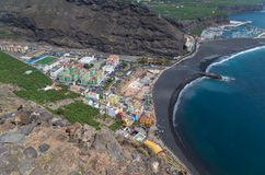 Bella vista su Puerto de Tazacorte, isole Canarie, Spagna Fotografia Stock