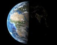 Bella vista su terra da spazio, Asia alla notte Fotografie Stock Libere da Diritti