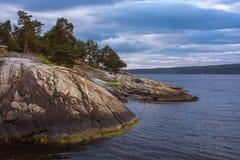 Bella vista sul mare norvegese variopinta con gli alberi e la costa rocciosa Fotografia Stock Libera da Diritti