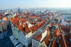Bella vista superiore del centro storico dello sguardo fisso Mesto, repubblica Ceca di Praga fotografia stock libera da diritti