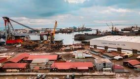 Bella visualizzazione della porta del cantiere navale a Bacu Azerbaijan fotografie stock libere da diritti