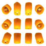 Bella volata delle lanterne isolata su fondo bianco Fotografia Stock Libera da Diritti