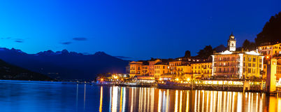 "Bellagio - ""Pearl of the Como Lake"". Panoramic image of Lake Como, taken from Bellagio just after sunset Stock Image"