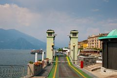 Bellagio. Car ferry loading ramp pier at Lago di Como, Italy Stock Images