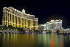Bellagio and Caesars Palace Casino and Hotel. Bellagio Casino and Hotel and Caesars Palace Casino and Hotel, reflecting in the man-made lake, in Las Vegas Stock Photos