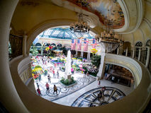 Bellagio Casino and Hotel Las Vegas. Inside the Bellagio Casino and Hotel in the balcony of the Bellagio Spa looking down at the Conservatory & Botanical Gardens royalty free stock photo