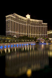 Bellagio casino and hotel in Las Vegas, Nevada. Buildings at the Bellagio casino and hotel reflecting in the fountain lake at night along the Las Vegas Blvd.n Stock Image