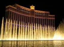 Fountains at Bellagio Casino by night, Las Vegas, stock photo