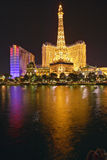 Bellagio Casino Water Show at night with Paris Casino and Eiffel Tower, Las Vegas, NV Royalty Free Stock Images