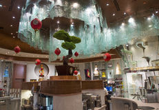 Bellagio Chocolate Fountain. LAS VEGAS - JAN 13 : Worlds Largest Chocolate Fountain in Bellagio hotel in Las Vegas on January 13 , 2014. The fountain is a stock image