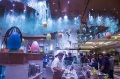 Bellagio Chocolate Fountain. LAS VEGAS - MARCH 10 : Worlds Largest Chocolate Fountain in Bellagio hotel in Las Vegas on March 10 , 2014. The fountain is a stock image