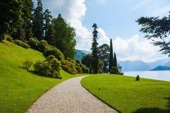Bellagio city on Lake Como, Italy. Lombardy region. Italian famous landmark, Villa Melzi Park. Botanic Garden plants and trees. Bellagio city on Lake Como stock photos
