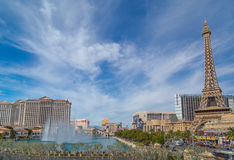 Bellagio fountain in Las Vegas. Between Cesar's Palace and the Paris hotel in March 2016, Nevada, USA stock photos