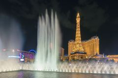 Bellagio fountain show in Las Vegas Strip. At night on July 26, 2018 in Las Vegas, USA. The Strip is home to the largest hotels and casinos in the world royalty free stock photos