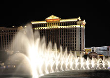 Bellagio Fountains and Caesars Palace - Las Vegas Stock Photography