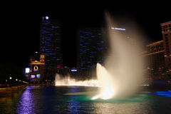 Bellagio Fountains and Cosmopolitan Royalty Free Stock Photos