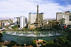 Bellagio Fountains at evening Royalty Free Stock Photo