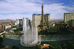 Bellagio Fountains at evening Stock Photography