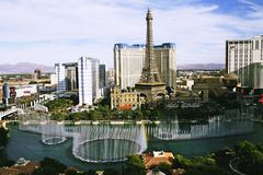 Bellagio Fountains at evening Royalty Free Stock Photography