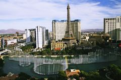 Bellagio Fountains at evening Stock Photo