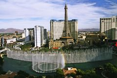 Bellagio Fountains at evening Stock Image