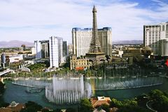 Bellagio Fountains at evening Royalty Free Stock Photos