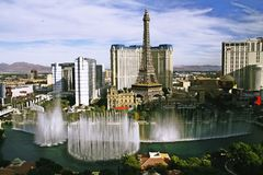 Bellagio Fountains at evening Royalty Free Stock Images