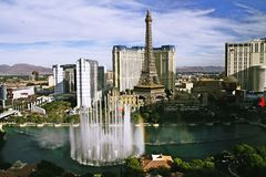 Bellagio Fountains at evening Royalty Free Stock Image