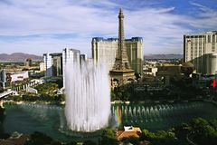 Bellagio Fountains at evening Stock Images