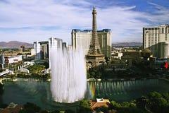 Bellagio Fountains at evening. LAS VEGAS NV, USA - Oct 28: The Bellagio Fountains at evening on Oct 28, 2015 in Las Vegas, USA. More than 1200 dancing fountains Stock Image