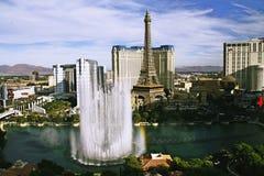Bellagio Fountains at evening. LAS VEGAS NV, USA - Oct 28: The Bellagio Fountains at evening on Oct 28, 2015 in Las Vegas, USA. More than 1200 dancing fountains Stock Photography
