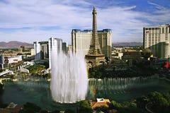 Bellagio Fountains at evening. LAS VEGAS NV, USA - Oct 28: The Bellagio Fountains at evening on Oct 28, 2015 in Las Vegas, USA. More than 1200 dancing fountains Royalty Free Stock Photo