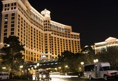 Bellagio Hotel and Casino. Side view showing traffic in and out royalty free stock image