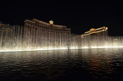 Bellagio Hotel and Casino, Bellagio, water, fountain, landmark, night. Bellagio Hotel and Casino, Bellagio is water, night and light. That marvel has fountain royalty free stock images