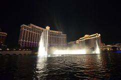 Bellagio Hotel and Casino, fountain, water, landmark, night. Bellagio Hotel and Casino is fountain, night and light. That marvel has water, water feature and royalty free stock photo
