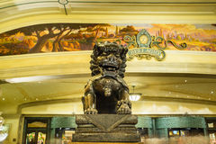 Bellagio Hotel and Casino metal lion sculpture at lobby entrance Stock Images
