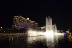 Bellagio Hotel and Casino, night, landmark, city, fountain. Bellagio Hotel and Casino is night, fountain and reflection. That marvel has landmark, light and Royalty Free Stock Photo