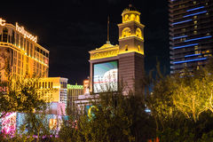 Bellagio Hotel and Casino view of sign at night Royalty Free Stock Photos