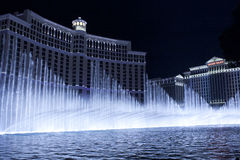 Bellagio Hotel Fountain show in cool blue setting Stock Photography