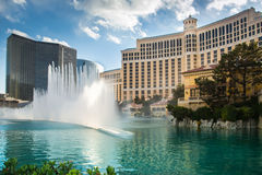 Bellagio Hotel Las Vegas. LAS VEGAS, NEVADA - MAY 7, 2014:The fountains at Bellagio Hotel and Casino in Las Vegas, Nevada. These choreographed fountains have royalty free stock images