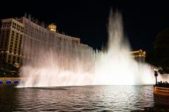 Beautiful Bellagio fountain show in the middle of Las Vegas. Bellagio hotel, Las Vegas, USA. June 01, 2018. Beautiful Bellagio fountain show in the middle of royalty free stock photo