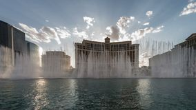 Bellagio Hotel Light & Water Show Time Lapse Video stock video footage