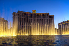 Bellagio-Hotel mit Wasserspielen in Las Vegas Stockfoto