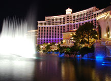 bellagio hotellnighttime Royaltyfria Foton