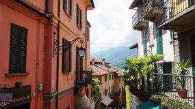BELLAGIO, ITALY - MAY 14, 2017: tourists in Salita Serbelloni picturesque small town street view in Bellagio, Lake Como, Italy. Stock Photo