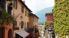 BELLAGIO, ITALY - MAY 14, 2017: tourists in Salita Serbelloni picturesque small town street view in Bellagio, Lake Como, Italy. Royalty Free Stock Image