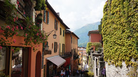 BELLAGIO, ITALY - MAY 14, 2017: tourists in Salita Serbelloni picturesque small town street view in Bellagio, Lake Como, Italy Stock Image