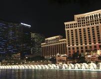 bellagio kosmopolityczna fontann noc Fotografia Stock