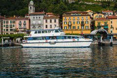 BELLAGIO ON LAKE COMO, ITALY, JUNE 15, 2016. View on coast line of Bellagio city on Lake Como, Italy. Italian landscape city with. Hotel, buildings on the shore Stock Image