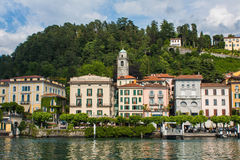 BELLAGIO ON LAKE COMO, ITALY, JUNE 15, 2016. View on coast line of Bellagio city on Lake Como, Italy. Italian landscape city with. Hotels, buildings on the Royalty Free Stock Images